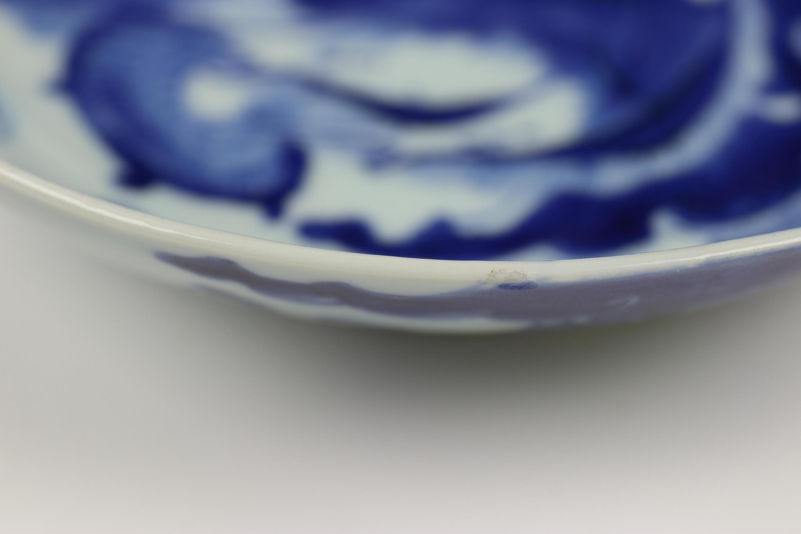 China, serie van negen blauw-wit porseleinen bordjes, Qing dynastie, waarschijnlijk Jiaqing, - Image 7 of 9