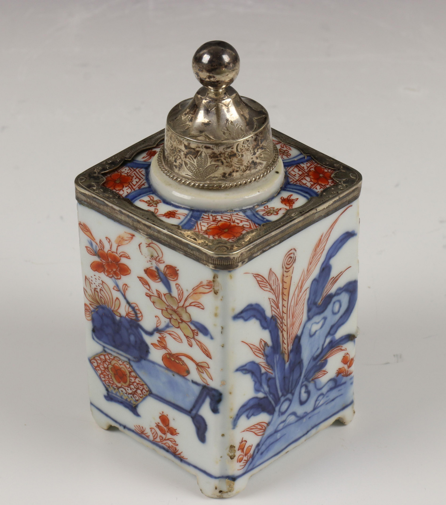 China, kantige Imari theebus, Qianlong, - Image 8 of 10