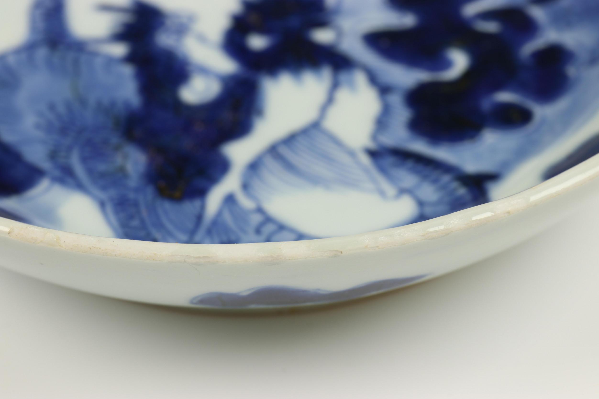 China, serie van negen blauw-wit porseleinen bordjes, Qing dynastie, waarschijnlijk Jiaqing, - Image 8 of 9