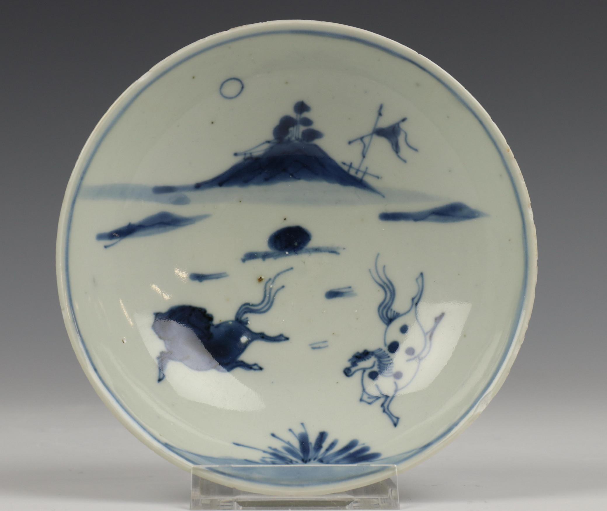 China, blauw wit porseleinen kleine kom, Ming,