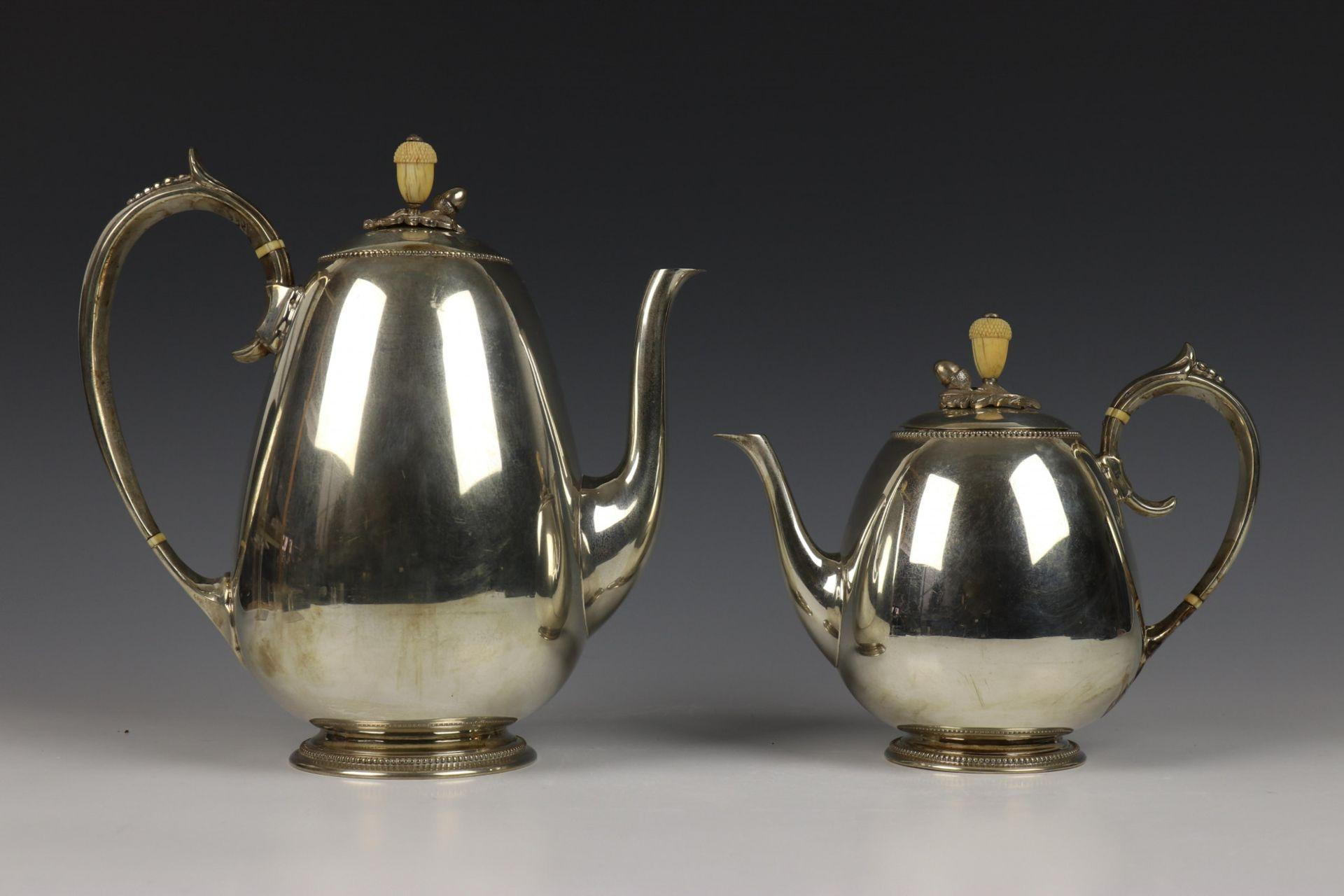 Vierdelig koffie- en theeservies, Fa. J.M. van Kempen, 19e eeuw, - Image 3 of 4