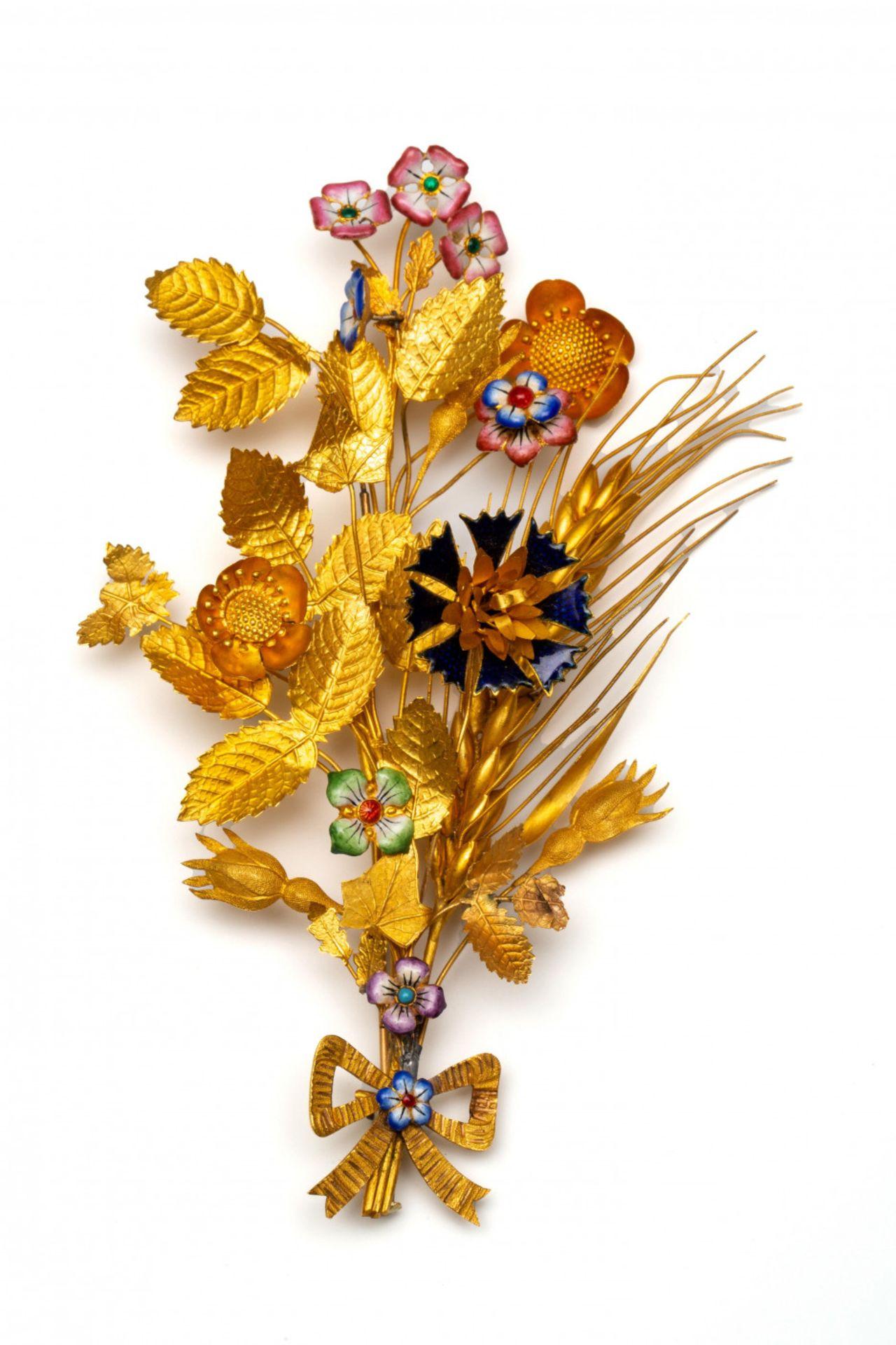 14krt. Gouden corsage broche, 19e eeuw, - Image 2 of 3