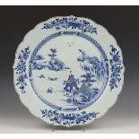 China, blauw-wit porseleinen schotel, Qianlong,