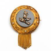 14krt. Gouden ronde broche, 19e eeuw,