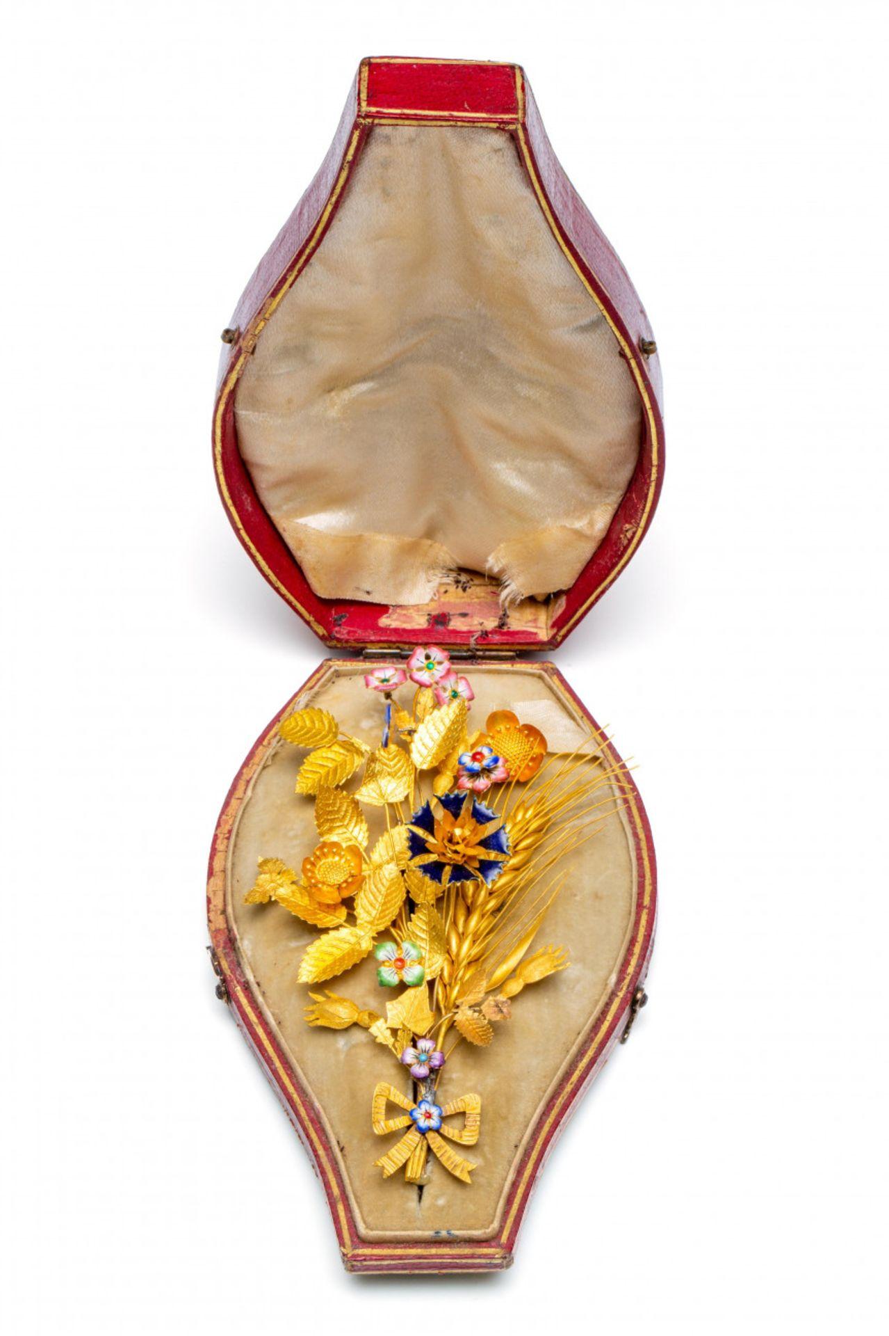 14krt. Gouden corsage broche, 19e eeuw, - Image 3 of 3