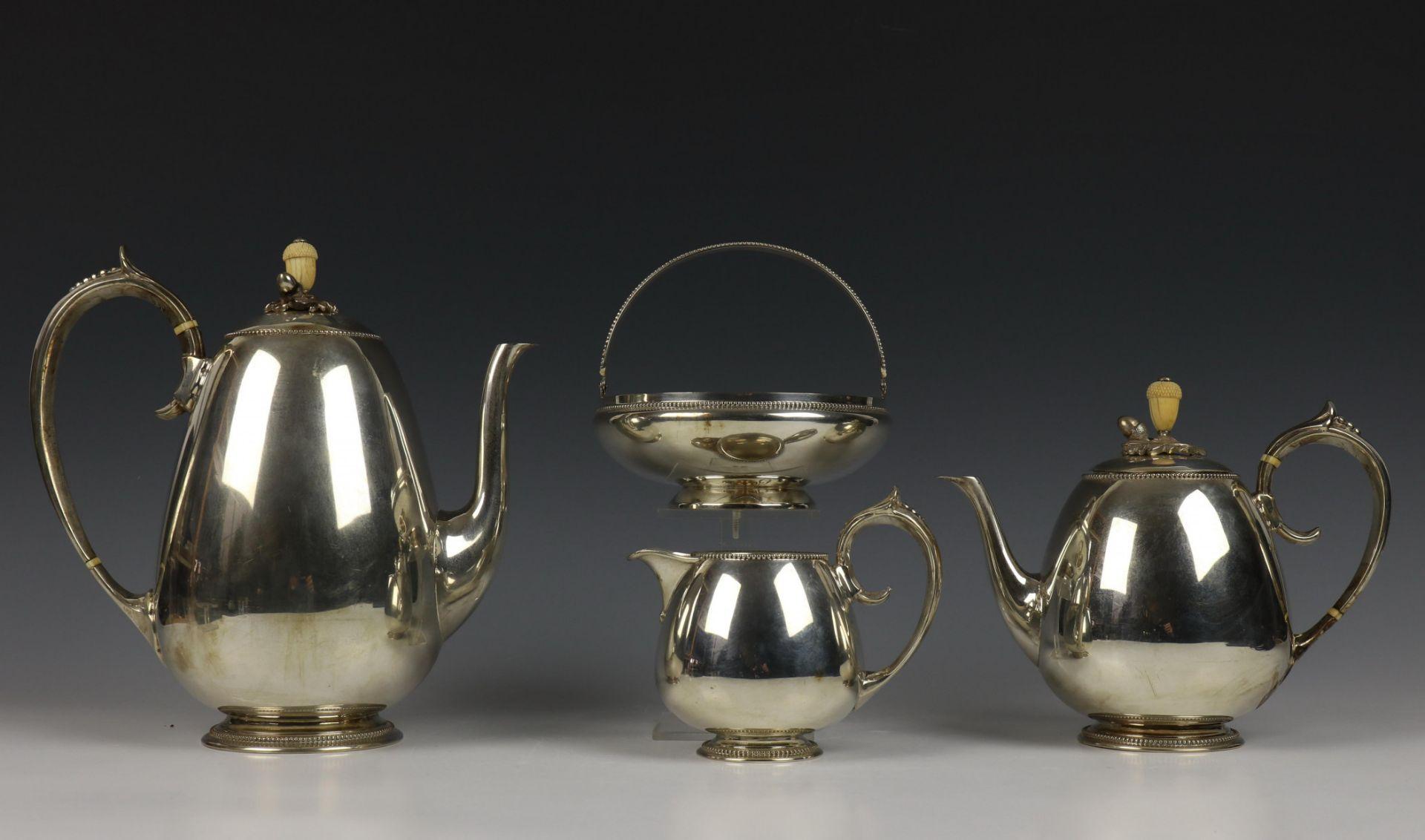 Vierdelig koffie- en theeservies, Fa. J.M. van Kempen, 19e eeuw, - Image 2 of 4