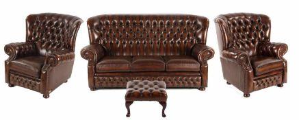Gecapitonneerde bruin lederen 3-1-1-zits, Chesterfield bankstel en extra voetenbankje, made in the