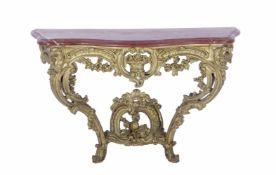 Barok houten vergulde consoletafel met rood marmeren blad 69 cm hoog, 107,5 cm breed, 45 cm diep