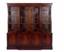2-delige Engelse boekenkast met vakverdeling op de ruiten, 214 cm hoog,216 cm breed, 40 cm diep