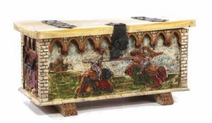 Spanish chestnut chest with polychrome meshwork depicting knight's combat, with wrought iron