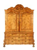 Mahogany veneer on oak 18th century cabinet with 3-drawer organ curved base cabinet 238 cm high, 178