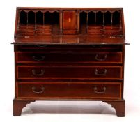 English walnut veneer & nbsp; valve desk with intarsia, 4 drawers and beautiful nest 100.5 cm