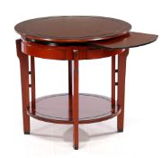 Heldense, round side table, 67 cm high, 70 cm diameter with a pull-out leaf under the top. Made in a