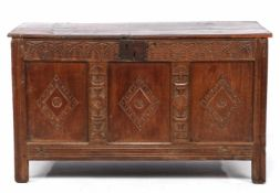 Antique oak blanket chest with richly carved front, Holland approx. 1680, 74 cm high, 127 cm wide,