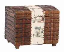 Late 19th century pinewood Black Forest chest with inlaid sampler, 44 cm high, & nbsp; 55 cm