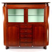 Heldense, oval cupboard with display area with glass shelves, 2 doors, 5 drawers and halogen