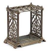 Cast iron umbrella stand in Neo-Gothic style 59.5 cm high, approx. 33 kg, 58 cm wide, 37 cm deep