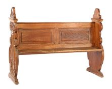 Solid oak pew with burnt sides, 111 cm high, 147 cm wide and 53 cm deep