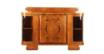 Art Deco walnut veneer sideboard with upstand, 107 cm high, 161 cm wide, 55 cm deep