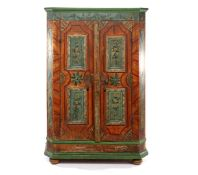 Pine painted 2-door cabinet with beveled corners, dated 1811, standing on ball feet 176.5 cm high,