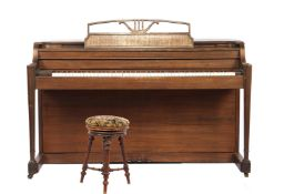 Baldwin piano in teak cabinet with fluted columns, cabinet numbered 81505, 89 cm high & nbsp; 149 cm