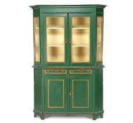 Antique painted cupboard, 212 cm high, 139 cm wide, 46 cm deep