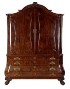 18th century mahogany veneer on oak Dutch Louis XV cabinet with ascending hood, panel work and panel