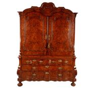 Antique Dutch cabinet, carrot nuts on oak with organ curved base cabinet, approx. 1760, 245 cm high,