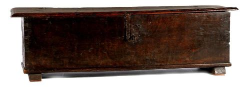 17th century chestnut wooden blanket chest, 50 cm high and top size 172x40.5 cm