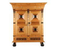 Dutch oak cushion cabinet after an antique model, 176 cm high, 149 cm wide, 55 cm deep