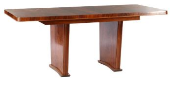 Rosewood veneer on beech table 76 cm high, top size 139x81 cm, with intermediate top 47 cm,