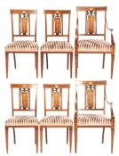 4 mahogany with & nbsp; intarsia Louis Seize dining room chairs and 2 armchairs with striped