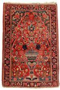 Oriental hand-knotted carpet with floral motif, birds and vase 196x150 cm