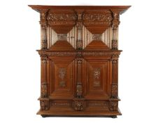 Antique oak 3-part cabinet with 4 doors and 2 large drawers, Completely decorated with masks and