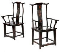 2 lacquered armchairs with medallion in the back, China ca.1960, backrest 120 cm high