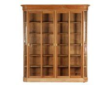 Demountable teak display cabinet with 4 sliding doors, 235 cm high, 240 cm wide, 47 cm deep