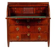 Mahogany veneer on oak roll top desk with drawers and compartment with blind door behind the