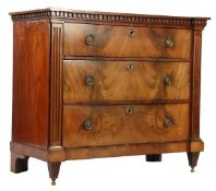 Mahogany veneer on oak Louis Seize 3-drawer chest of drawers with block edge 86 cm high, 100 cm