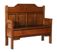 Oak bench in Art Deco style, made from headboard of a cot, & nbsp; 90 & nbsp; cm high, & nbsp; 99 cm
