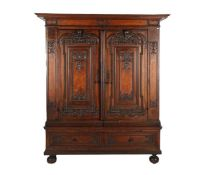 Antique 4-part cabinet with 2 drawers and 2 doors, various types of veneer on pinewood, richly