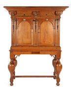 Antique oak 2-part cross-legged cabinet, Renaissance with carved frieze, lion masks and porch doors,