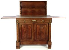 Mahogany veneer on oak folding buffet with full columns, loose marble top, bronze ornaments and a