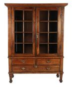 Antique demountable display cabinet with inlay, painted inside, 3 drawers with beautiful antique