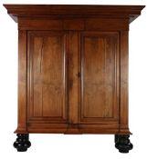 Walnut veneer on oak 2-door cabinet, 18th century, 204 cm high, 193 cm wide, 78.5 cm deep (right