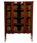 Walnut display cabinet with intarsia trims and hood edge, curved glass door, glass in front and