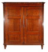 18th century oak 2-door cabinet with straight profiled hood including tooth molding, panel doors and