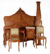 Walnut bedroom furniture in Louis XV style b.u. bed conversion with mattress size 199x140 cm, side