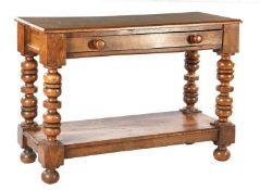 Oak wall table with bottom shelf, turned legs, pin joints and top with beveled edges, 19th century