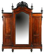 Walnut veneer 3-door cabinet with mirrored door in the middle and decorated crest 252 cm high, 201