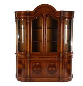 Walnut with burr walnut veneer 2-part showcase with intarsia, 2 doors and drawer in base cabinet and